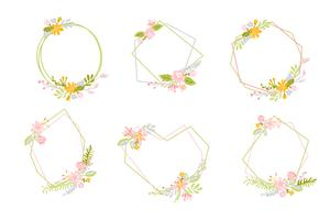 Set of geometric Spring wreath with flower. Flat herb abstract vector garden frame.