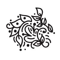 Scandinavian monoline flourish monogram vector with leaves and flowers