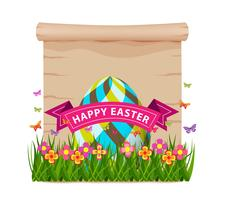easter egg with grass and butterflies of spring with blank paper