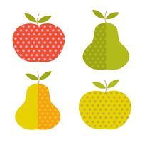 Manzanas y peras retro con lunares de lunares.
