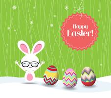 happy easter rabbit and eggs background