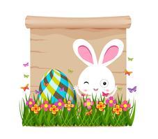 Huevo de Pascua y conejito de primavera con papel.