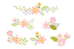 Conjunto de flor plana isolada de vetor no fundo branco