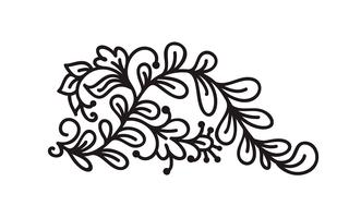 Black monoline flourish scandinavian monogram vector with leaves and flowers