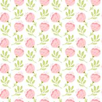 Vector seamless pattern with flat flower bouquet and leaves