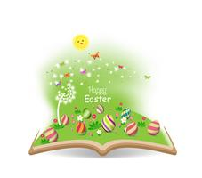 easter egg and buny funny spring with dandelion in the book