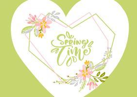Tarjeta de felicitación de vector de flor con texto tiempo de primavera
