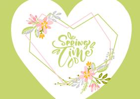 Flower Vector greeting card with text Spring Time