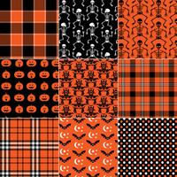 orange and black seamless Halloween plaids polka dots and patterns vector