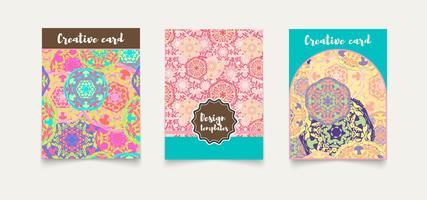 Set tarjetas étnicas, invitaciones, flyers, banners a4.