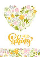 Cartão de saudação de vetor de flor com texto Olá Primavera