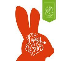 Feliz Páscoa tipográfico e fundo de rótulo de ovos