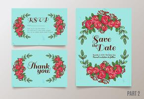save the date invitation, RSVP and thank you cards.  vector
