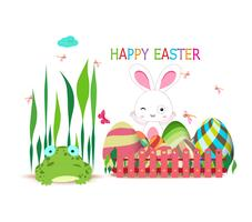 easter eggs fence with spring bunny and frog