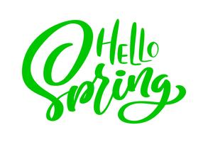 Green Calligraphy lettering phrase Hello Spring