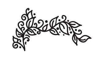 Black monoline flourish vintage monogram vector with leaves and flowers