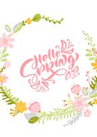 Tarjeta de felicitación de vector de flor con texto Hola primavera