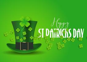 St Patrick's Day background with top hat and shamrock