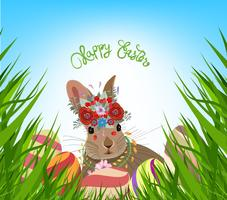 easter eggs spring fresh grass background