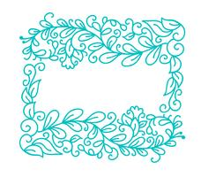 Vintage Turquoise vector monoline calligraphy flourish frame for greeting card