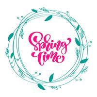 Fondo floral de la guirnalda del vector con texto de letras caligráficas tiempo de primavera