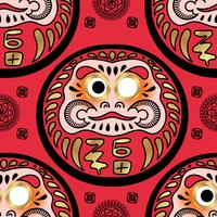 Daruma doll seamless pattern.