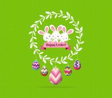 Kleurrijke paaseieren en konijntje rond de wereld