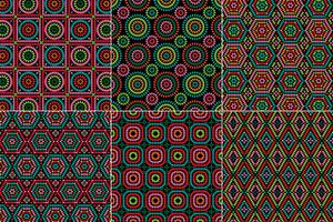 granny square patterns on black backgrounds vector