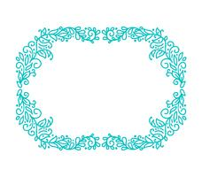 Turquoise vector monoline calligraphy flourish frame for greeting card