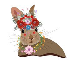 Tarjeta linda con conejo encantador. Conejo en una corona de flores