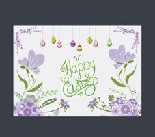 Happy easter eggs greeting card flower purple