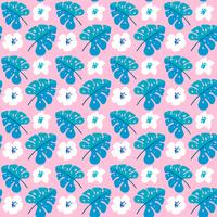 Vector summer seamless pattern with flat flowers and Tropical Leaves