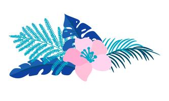 Vector summer isolated flat flower bouquet tropical palm monstera