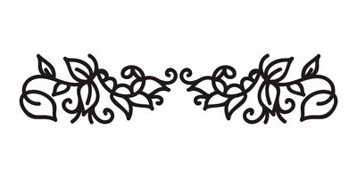 Vintage monoline flourish scandinavian monogram vector with leaves and flowers