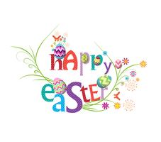 happy easter.Floral Frame. Cute flowers arranged un a shape of the wreath