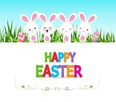 Fröhliche Ostern-Kartenillustration mit Eiern und Häschen