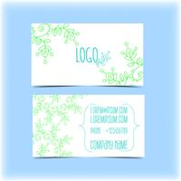 Business card with floral ornament, monogram