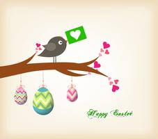 easter eggs hanging on the wire greeting card with bird