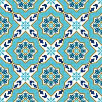Portuguese azulejo. White and blue patterns.  vector