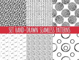 Set of four seamless abstract hand-drawn pattern,