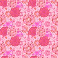 Gypsy seamless pattern of abstract multicolored round mandalas.