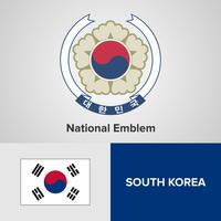 South Korea National Emblem, Map and flag