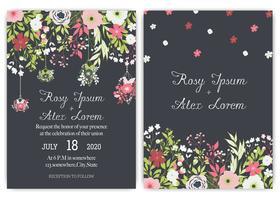 Tarjeta de invitación de boda suite con flores de margarita plantillas.