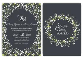 wedding invitation card suite with daisy flower Templates.