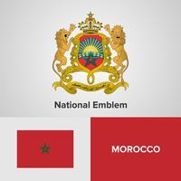 Marruecos emblema nacional, mapa y bandera