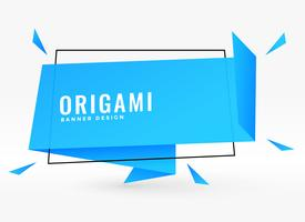 bandeira de estilo de bolha de bate-papo origami azul
