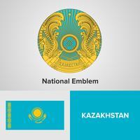 Kazajstán emblema nacional, mapa y bandera
