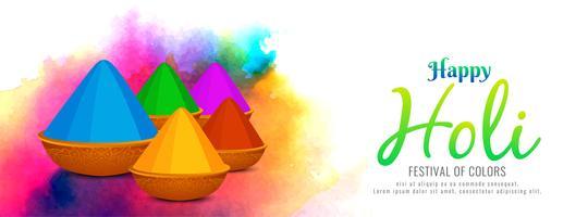 Plantilla de banner colorido abstracto feliz Holi vector