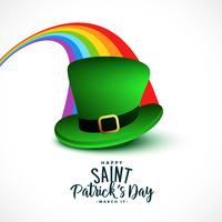 stylish St. Patrick's day background with rainbow and cap