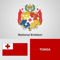 Tonga National Emblem, Map e flag
